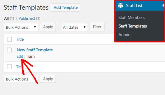 Edit Staff Template