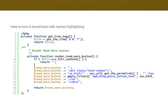 Code displayed with syntax highlighting