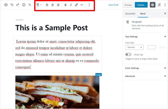 Top Toolbar Enabled in WordPress Post Editor