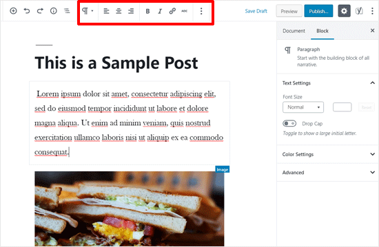 Barra de herramientas superior habilitada en WordPress Post Editor