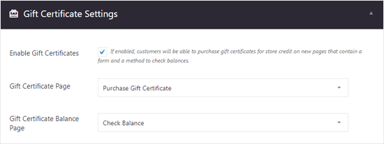 BigCommerce for WordPress Gift Certificates Settings
