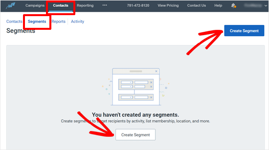 Create Segment Button in Constant Contact