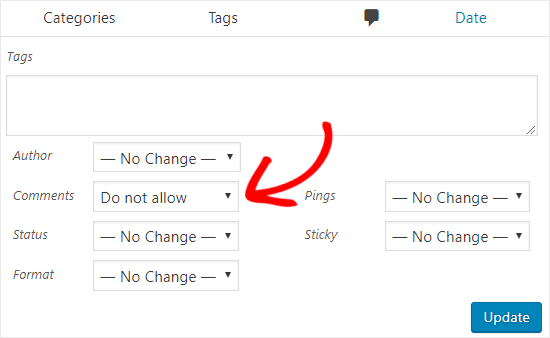 Disable comments on posts in bulk
