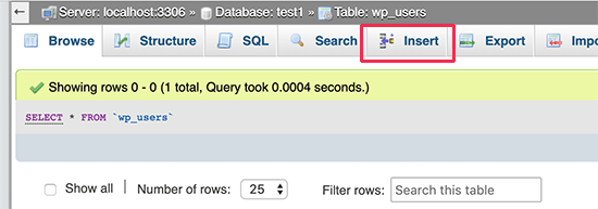 Sisipkan baris baru di tabel pengguna WordPress