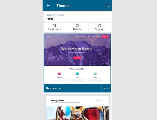 Managing WordPress themes via the app