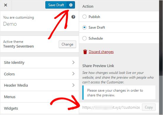 WordPress Customizer Concept opslaan