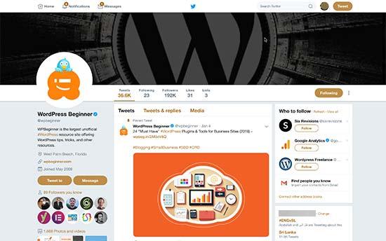Страница профиля в Твиттере с изображением обложки, изображением профиля и сообщением