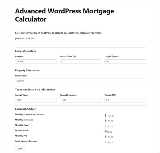 Расширенный WordPress Ипотечный Калькулятор Предварительный просмотр
