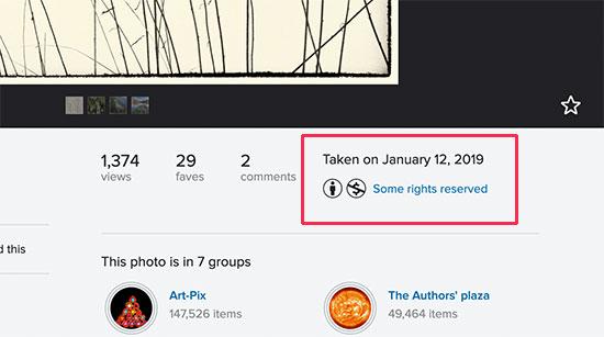 Информация о лицензировании изображения на Flickr