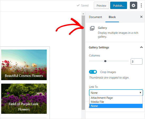 WordPress Gallery Block Settings