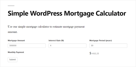 Simple WordPress Mortgage Calculator Preview