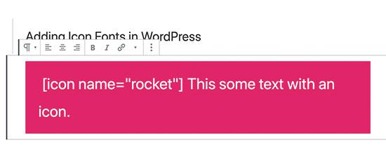 Adding icon font shortcode in WordPress