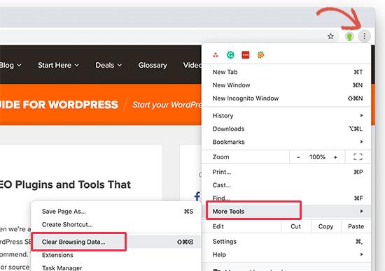 Chrome clear cache tool