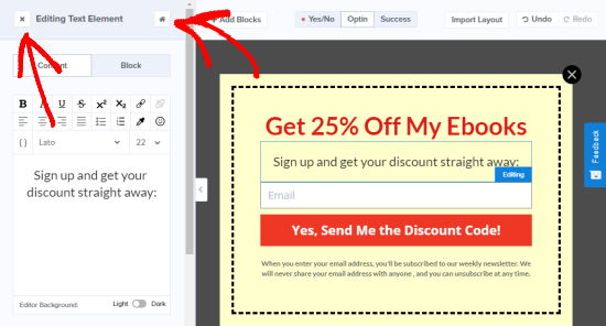 Close the current element that you're editing on your popup coupon