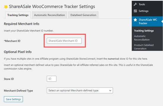 Menautkan plugin ShareASale WooCommerce Tracker ke akun ShareASale Anda