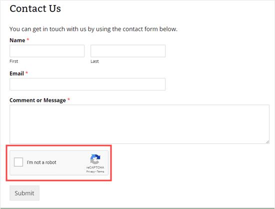 Contact form with reCAPTCHA box