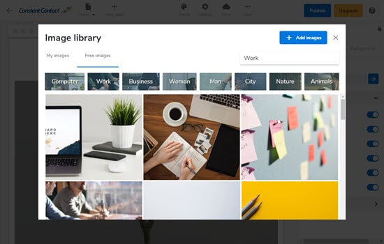 The library of images in Constant Contact's website builder