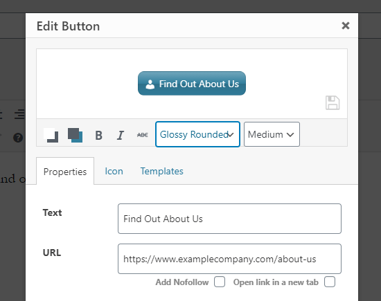 Creating a button for your link and customizing the design