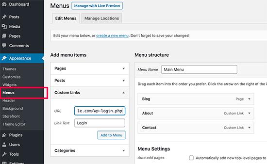 Tambahkan link ke halaman login di menu navigasi