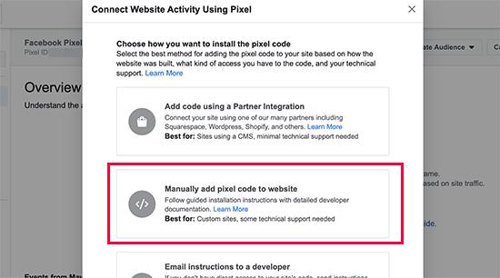 Adicionar código de pixel manualmente a um site