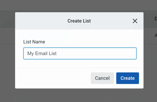 Name your Constant Contact email list