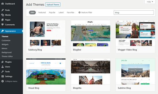 Tema blog WordPress gratis