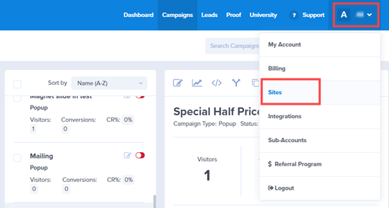 Pilih tautan 'Situs' dari tarik-turun OptinMonster
