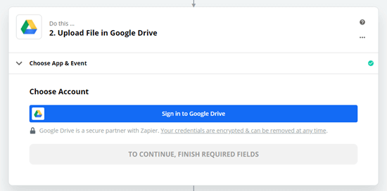 Signing into Google Drive when prompted by Zapier