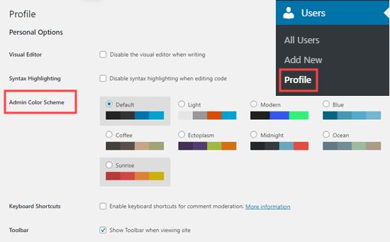 Memilih skema warna admin di WordPress, di halaman profil pengguna Anda