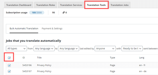 Selecting your content for bulk automatic translation