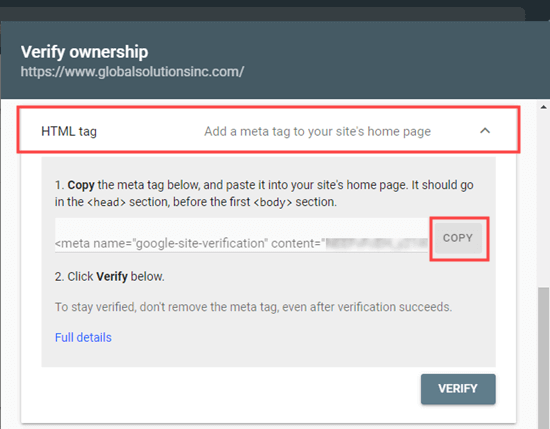 Copying the HTML meta tag from Google Search Console