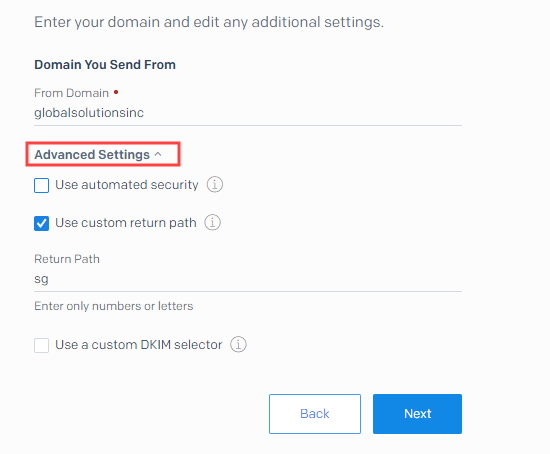 Enter your from domain and your custom return path