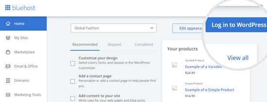 Masuk ke WordPress dari akun Bluehost Anda