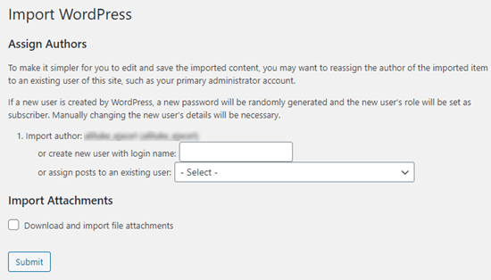 Choose which user to assign pages to when you import them