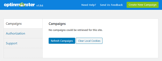 Refresh the list of campaigns in your OptinMonster dashboard