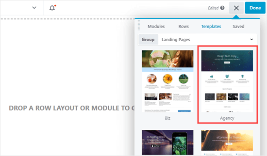 Selecting the Beaver Builder 'Agency' template
