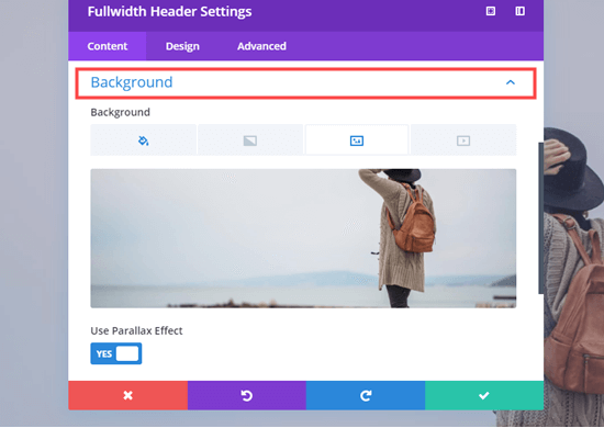 Editing the background image of the Fullwidth Header module