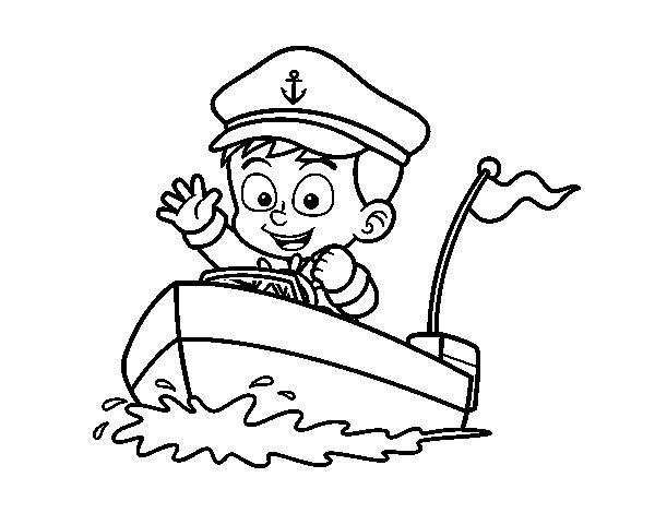 Disegno di Barca e capitano da Colorare