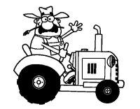 Disegno di Contadino sul suo trattore da Colorare ...