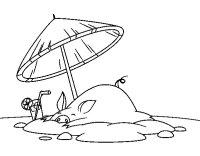 Disegno di Maialino in spiaggia da Colorare - Acolore.com