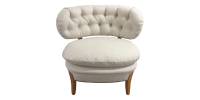 White Slipper Chair with Curved Tufted Back