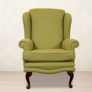 wooden chairs with arms india wedding chair covers oswestry online shopping buy leather in classic olive wingback fabric rolled