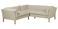 Contemporary 4 Seater L-shape Leather Sofa with Curved Back