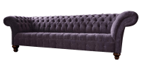Fabric Chesterfield Sofa in Purple With Curved Back