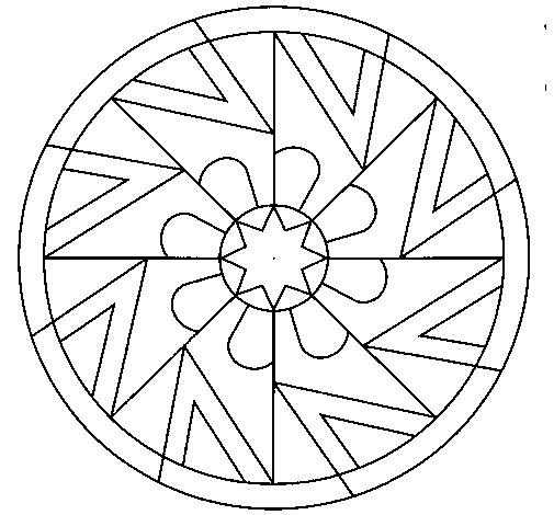 Desenho De Mandala Simetria Simples Para Colorir