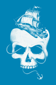 Sailing the Dead Sea  Shirts and Tees. Sailboat, Skull, Anchor as a snake.