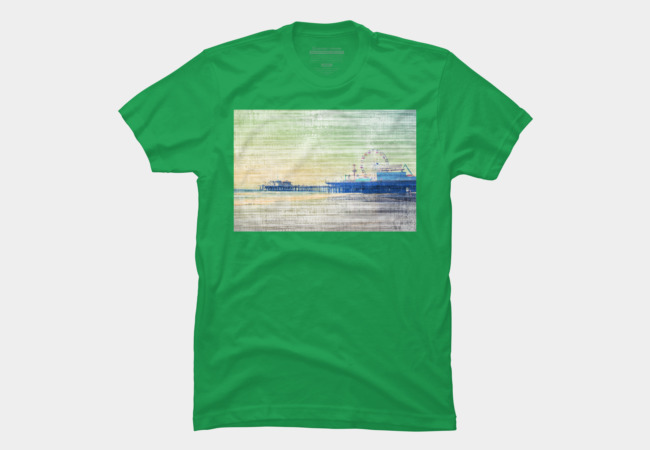Santa Monica Pier green grey Canvas T-Shirt by Christine aka stine1 on Design by Humans