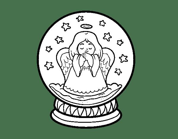 Dibujo de Bola de nieve con ngel para Colorear