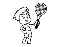 Dibujo de Nio con raqueta para Colorear - Dibujos.net