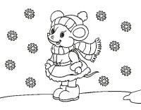 Dibujo de Ratita abrigada en Navidad para Colorear ...